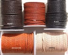 BRAIDED LEATHER 3MM from 1.69p metre